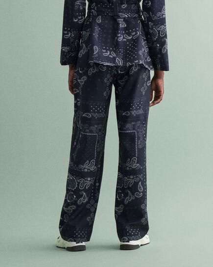 Pantalon à jambes larges et imprimé Bandana