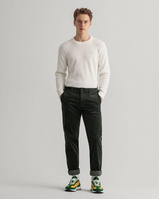 Pantalon chino regular fit en velours côtelé Allister