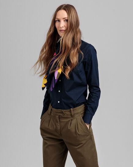 Gant femme poche sur le devant chemise lin-Bleu