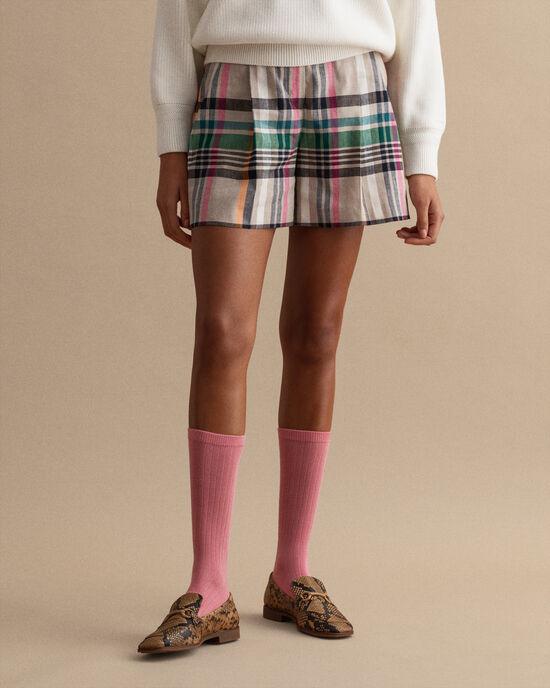 Short habillé à carreaux