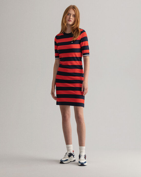 Robe en jersey à larges rayures