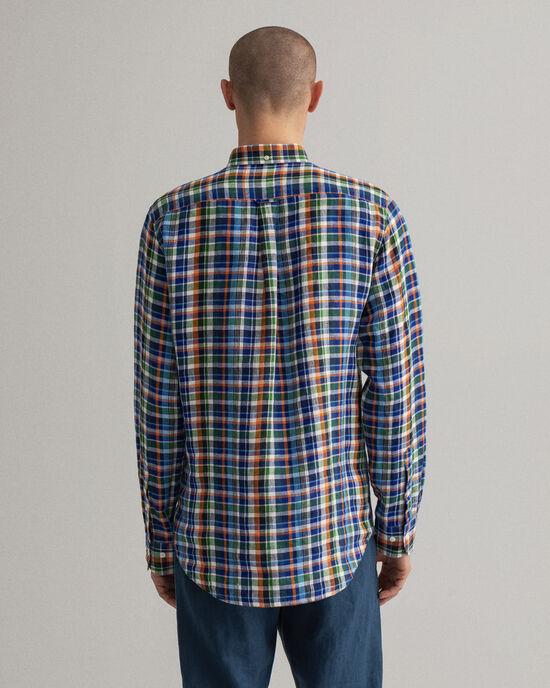 Chemise regular fit en lin à carreaux madras