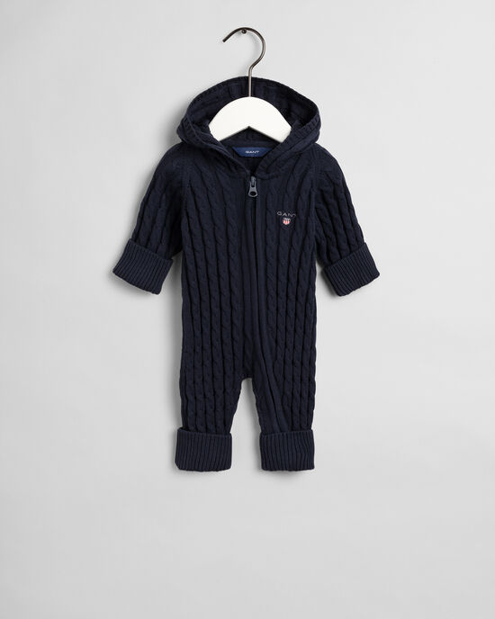 Combinaison zippée en coton à torsades Baby