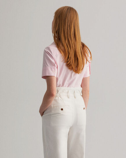 Chemise en coton Oxford stretch à manches courtes