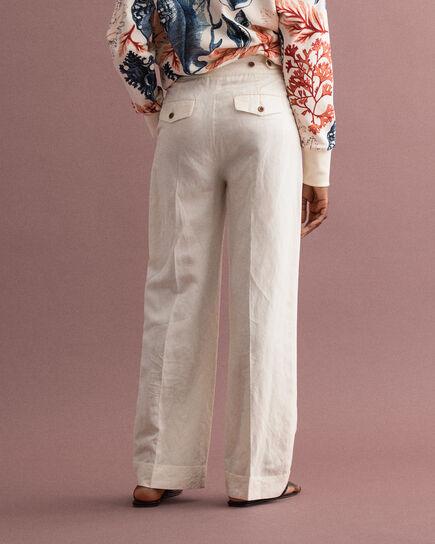 Pantalon en lin mélangé à jambes larges