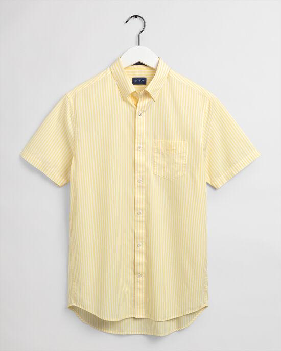 Chemise regular fit en popeline de coton à rayures et manches courtes