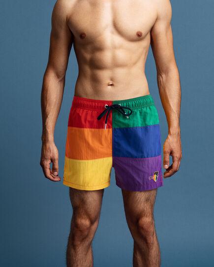 Short de bain court en colour-block Pride