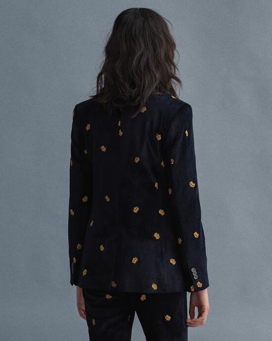 Veste blazer structurée en velours avec broderies