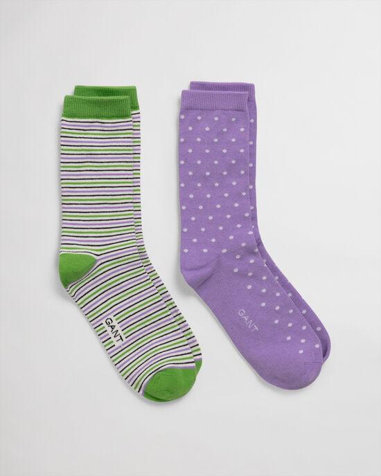 Lot de 2paires de chaussettes à pois et à rayures