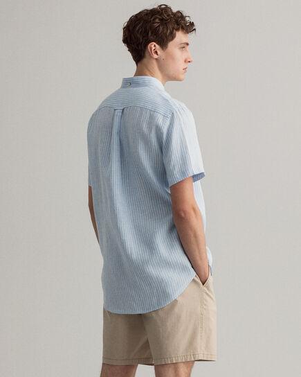 Chemise regular fit en lin à rayures et manches courtes