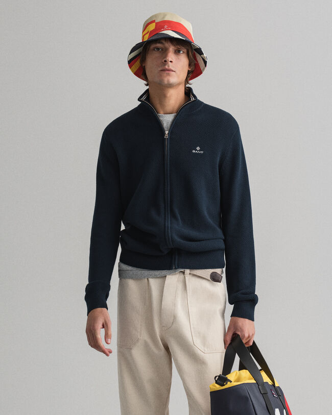 Cardigan zippé en coton piqué
