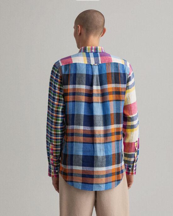 Chemise regular fit en lin à empiècements variés et carreaux madras