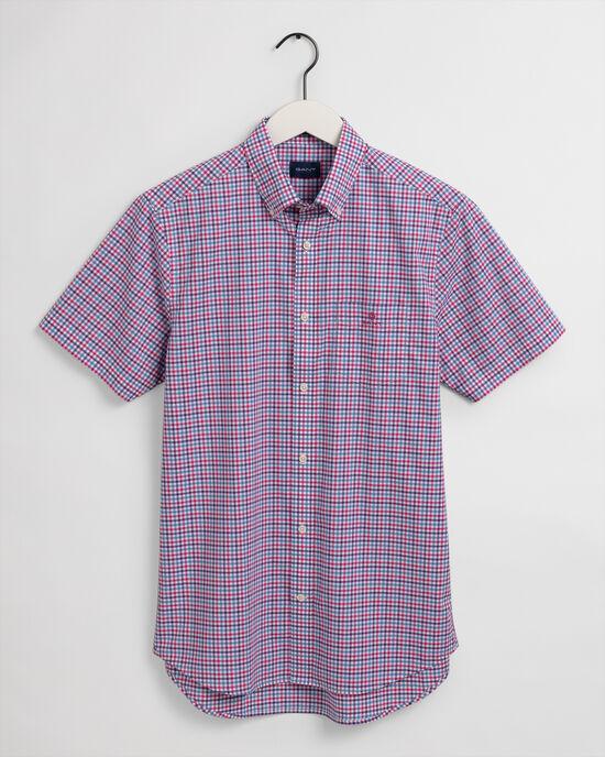 Chemise regular fit en popeline de coton à carreaux vichy tricolores et manches courtes