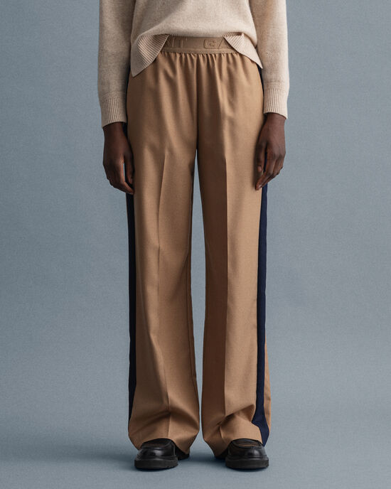 Pantalon habillé en laine mélangée à jambes droites