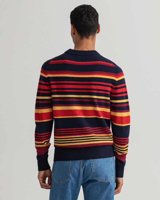 Pull ras du cou à rayures en laine Geelong