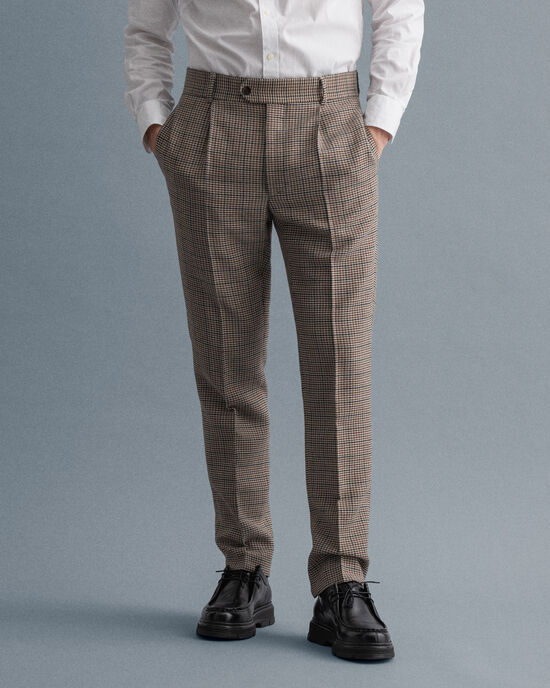 Pantalon de costume à carreaux en motif pied-de-poule