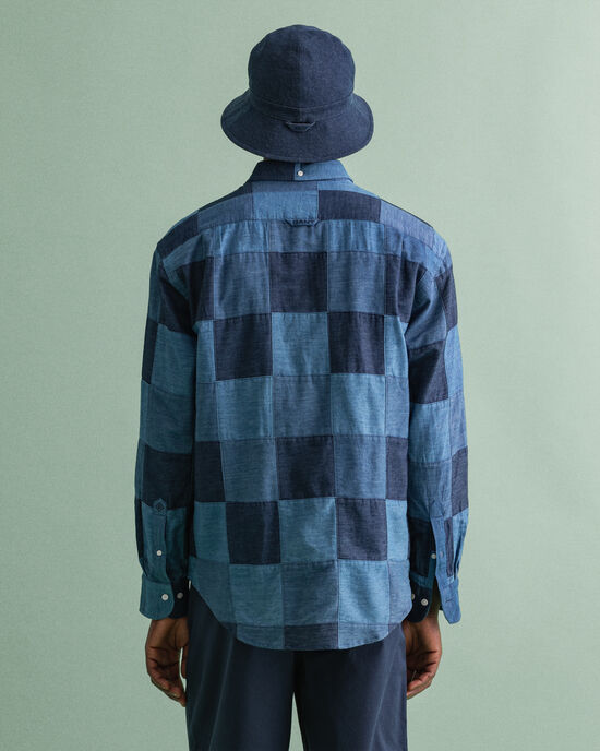 Chemise relaxed fit indigo style patchwork