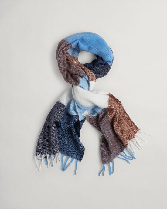 Écharpe en mohair et laine à carreaux multicolores