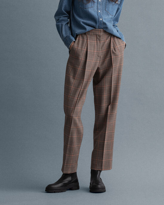 Pantalon taille haute plissé à carreaux