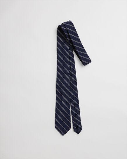 Cravate en soie mouchetée à rayures