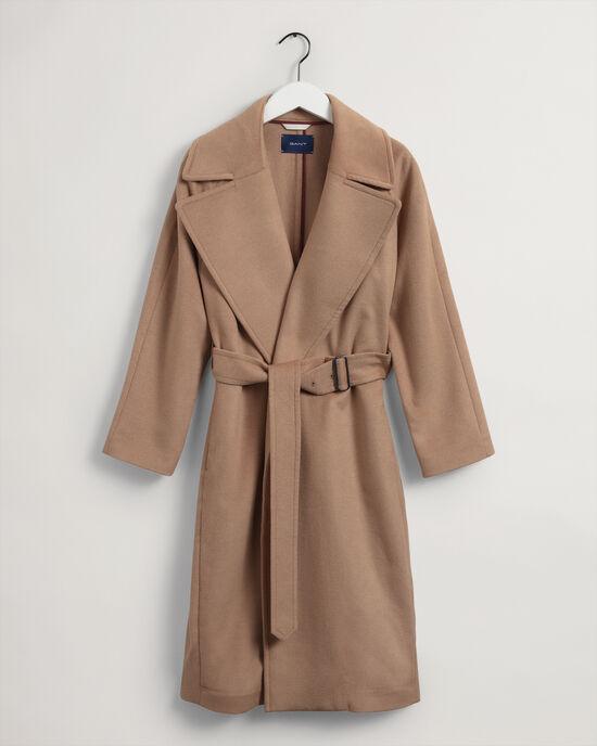 Manteau en laine mélangée à ceinture