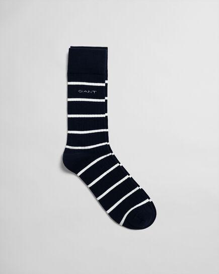 Chaussettes côtelées à rayures marinières