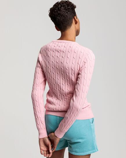Pull ras du cou en coton stretch à torsades