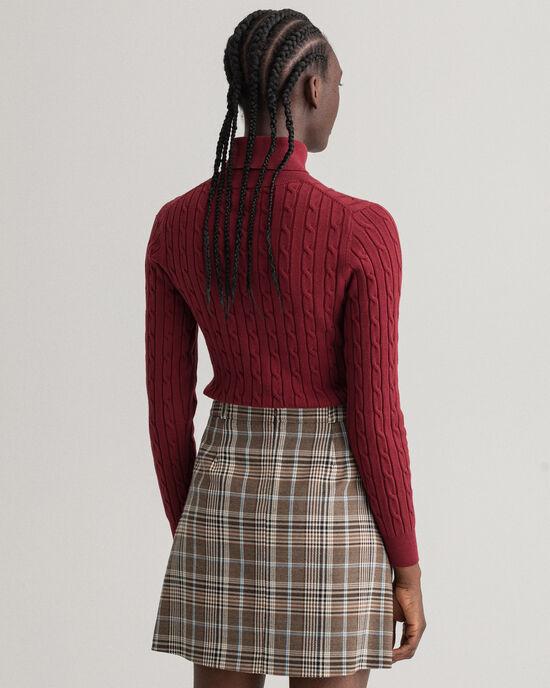 Pull col roulé en coton stretch à torsades