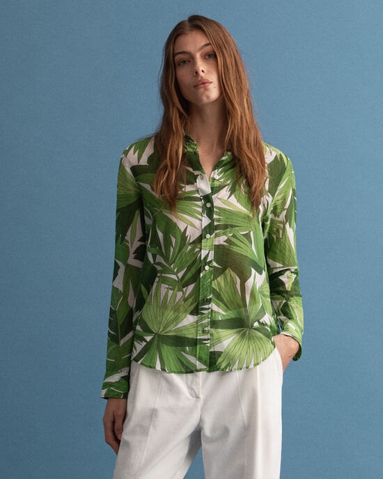 Chemise en coton et soie à imprimé Palm Breeze